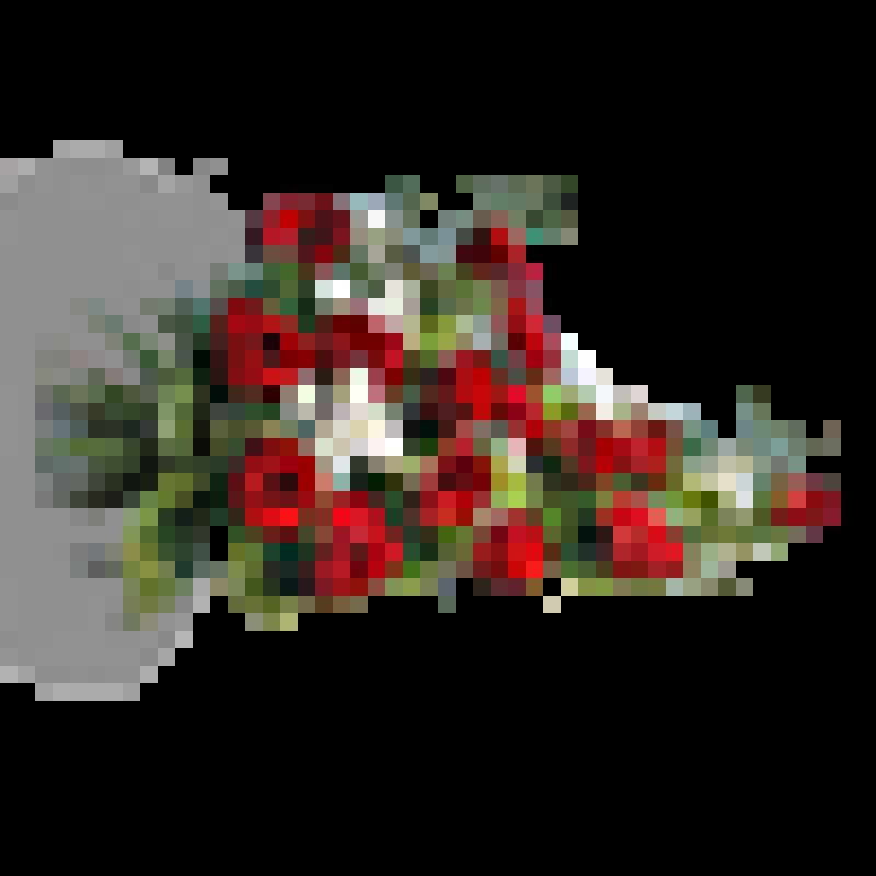Bårebuket i rødt og hvidt